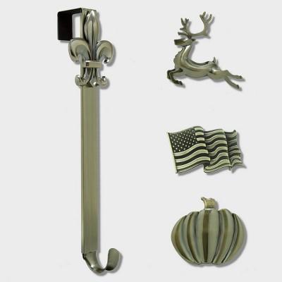 Haute Decor Christmas Adjustable Wreath Hanger with Icon Bundle Antique Brass Flag/Reindeer/Pumpkin/Fleur de lis