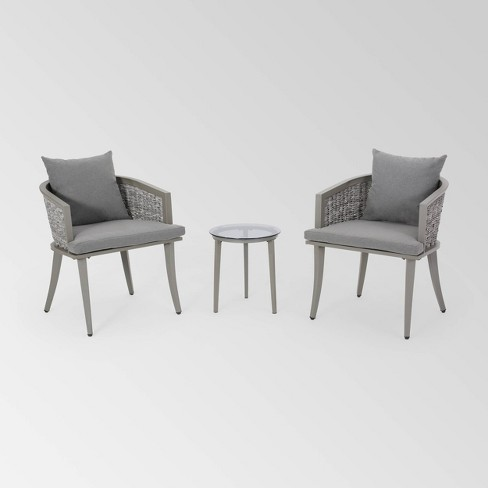 Pebble 3pc Wicker Boho Chat Set - Gray - Christopher Knight Home - image 1 of 4