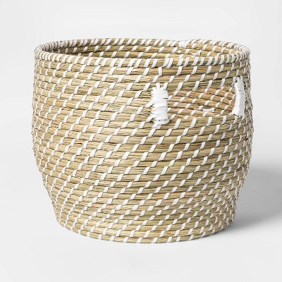Large Coiled Straw Round Basket Natural - Opalhouse™