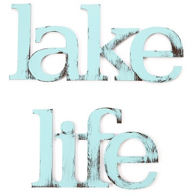 "16""x17"" Hand Painted 3D Wall Sculpture Lake Life Blue - Letter2Word"