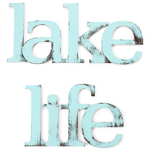 Letter2Word Hand Painted Lake Life 3D Wall Sculpture -Blue - image 1 of 2