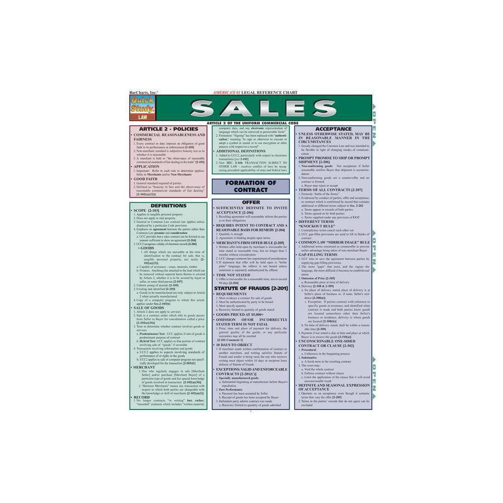 Sales Quick Study Law By Barcharts Inc Poster