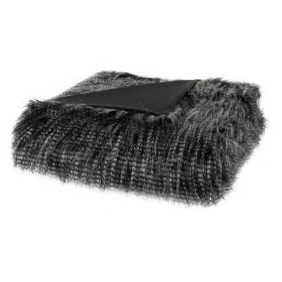 Black Adelaide Faux Fur Throw Blanket 50 x60