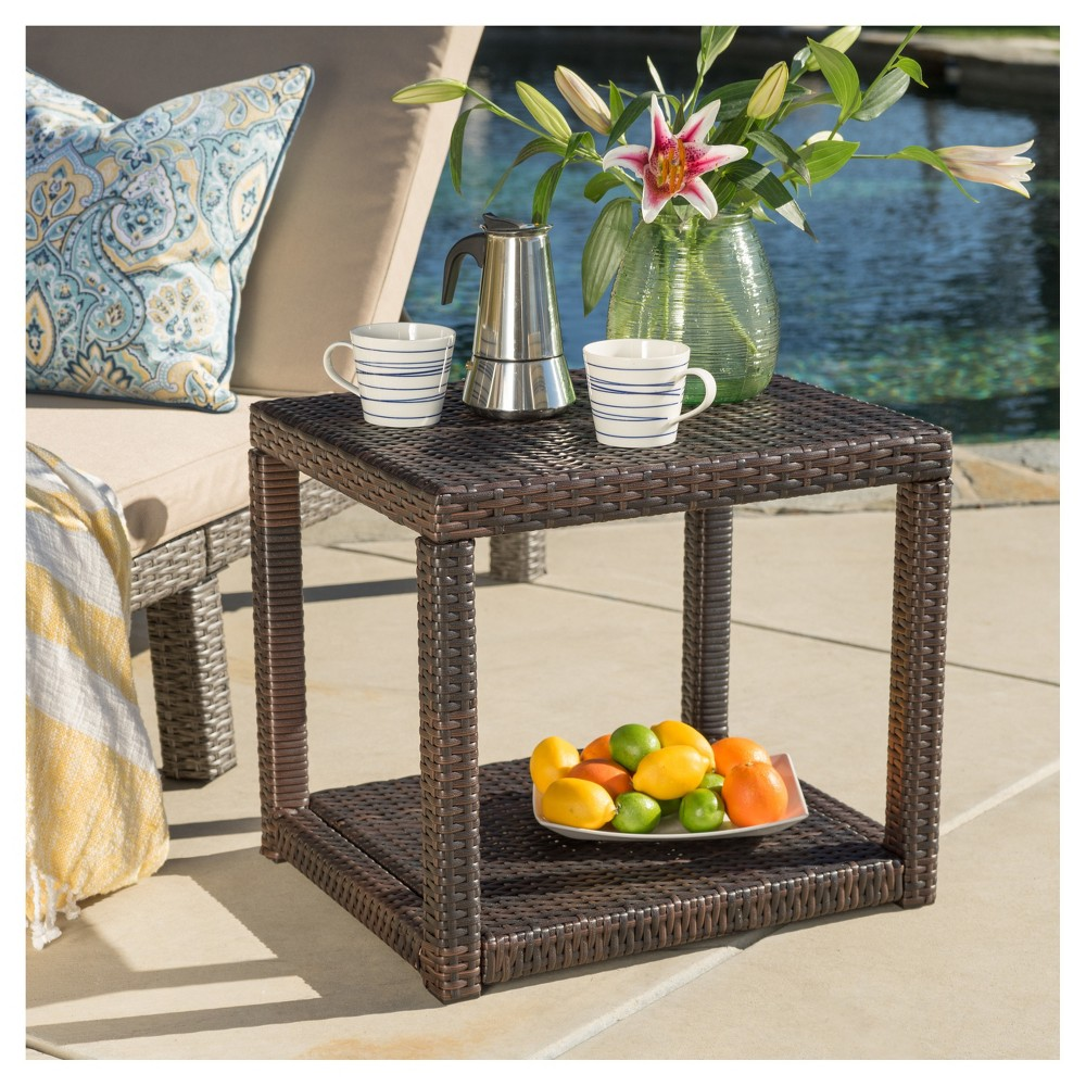 Boracay Rectangle Wicker Side Table Brown Christopher Knight Home