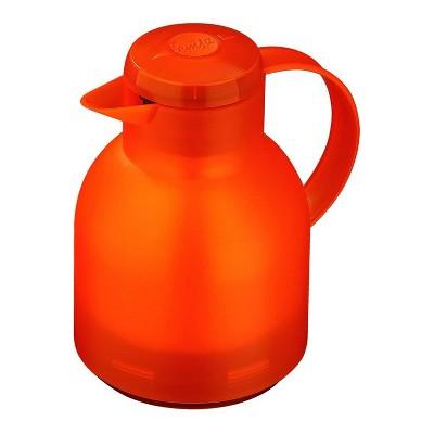 Emsa Samba 34 Ounce Quick Press Vacuum Insulated Thermal Jug Coffee Carafe Pitcher Server, Translucent Orange