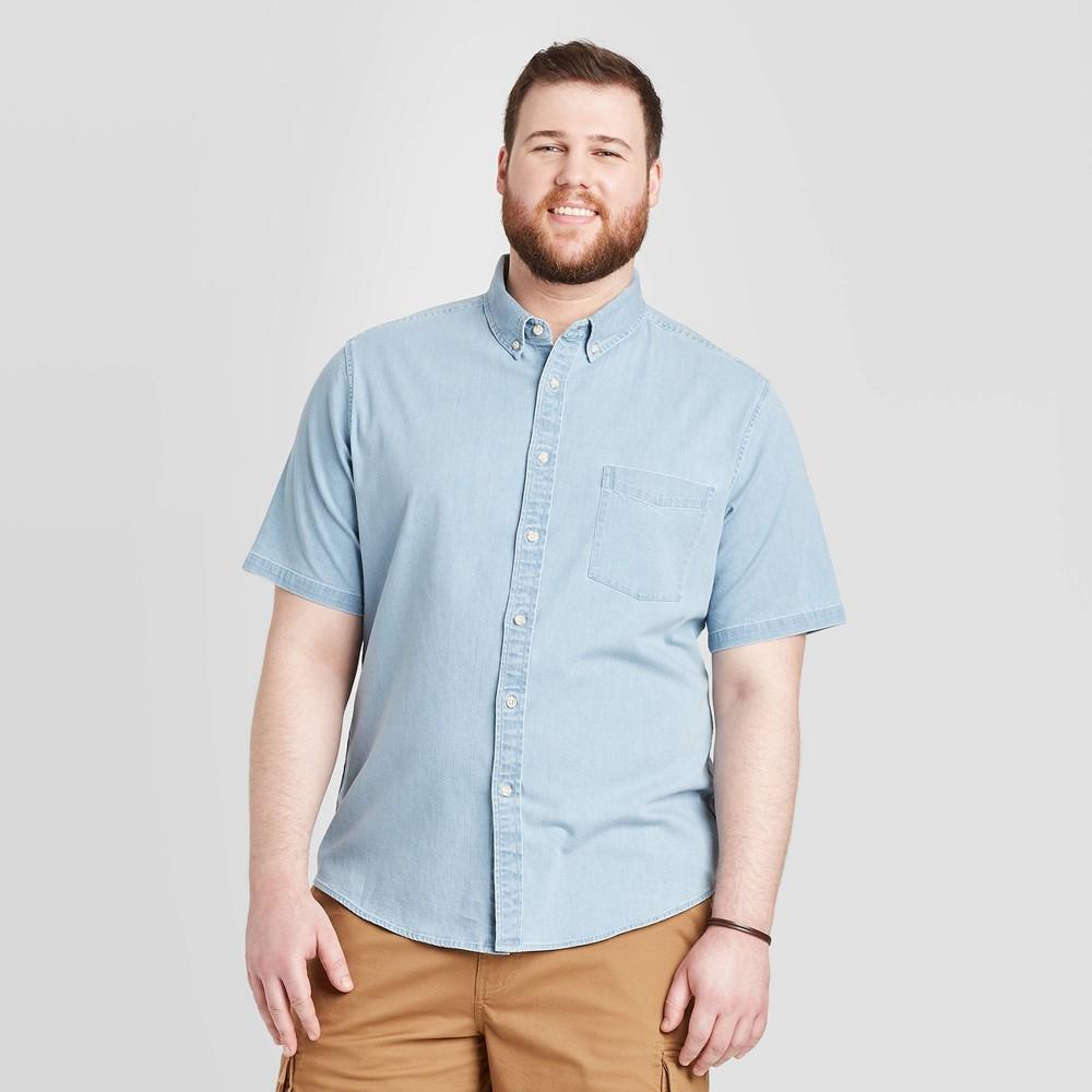 Men's Tall Standard Fit Short Sleeve Denim Shirt - Goodfellow & Co Light Wash MT, Men's, Light Blue was $19.99 now $12.0 (40.0% off)