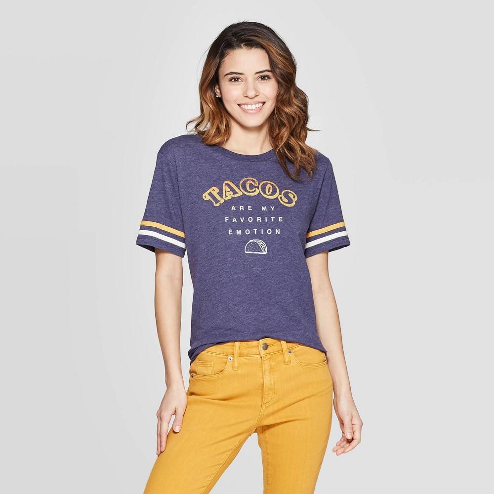 Women's Short Sleeve Crewneck Emotion Tacos T-Shirt - Zoe+Liv (Juniors') - Blue L