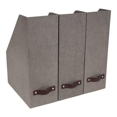 Set of 3 Estelle Canvas Magazine File Gray - Bigso Box of Sweden
