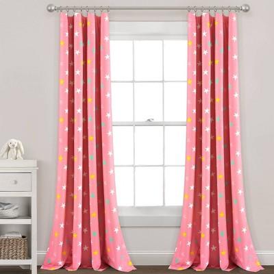 Lush Décor Blackout Unicorn Heart Rainbow Star Window Curtain Panel - Pink Single