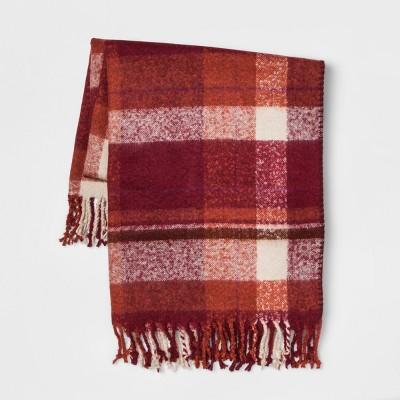 60 x50  Faux Mohair Plaid Throw Blanket Berry - Threshold™