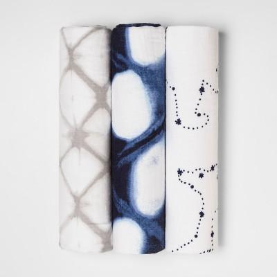 Muslin Swaddle Blankets Starry Slumber 3pk - Cloud Island™ Blue