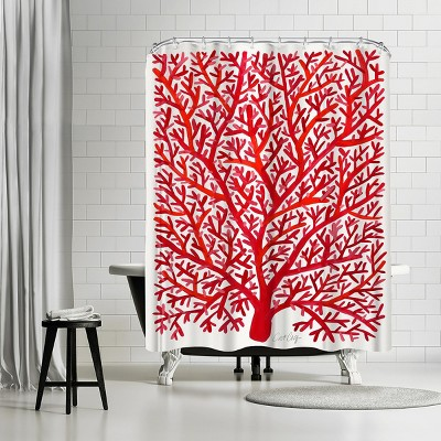 """Americanflat Fan Coral Red by Cat Coquillette 71"""" x 74"""" Shower Curtain"""