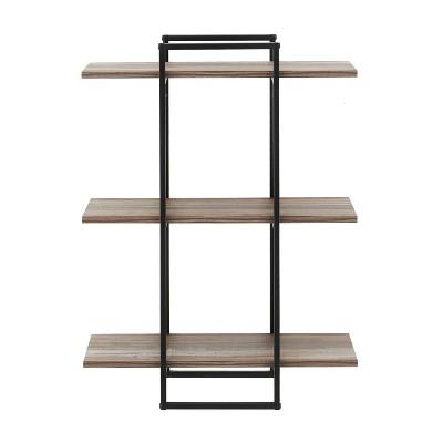 3-Tier Antigua Crossed Double Rectangle Wall Shelf Unit Black/Rustic - Danya B.