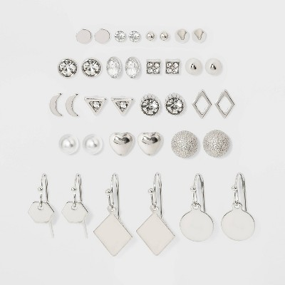 Heart and Moon Multi Earring Set 18pc - Wild Fable™ Silver