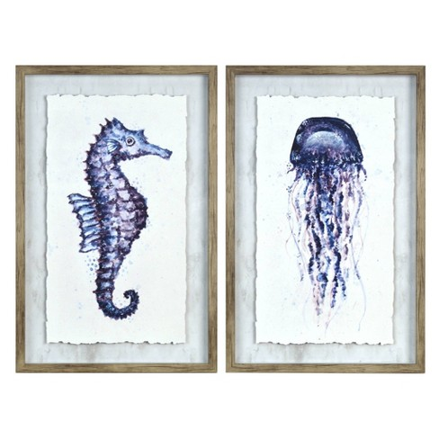 """2pk 13.5"""" x 20.5"""" Seahorse and Jellyfish Framed Behind Glass Blue - New View - image 1 of 4"""