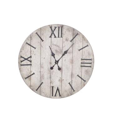 "24"" Wall Clock Rustic Weathered Wood - Threshold™"