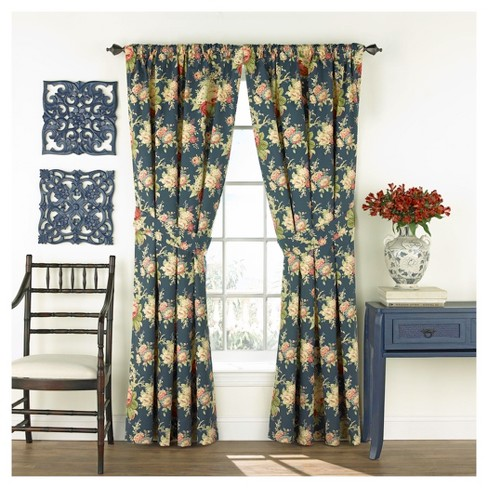 "Sanctuary Rose Curtain Panel Pair Navy (50""x84"") - Waverly - image 1 of 2"