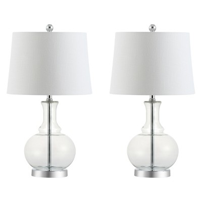 "25"" Lavelle Glass Table Lamp Set Of 2 Clear (Includes LED Light Bulb) - JONATHAN Y"
