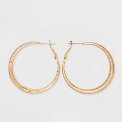 Worn Gold Hoop Post and Hinge Earrings - Universal Thread™ Gold