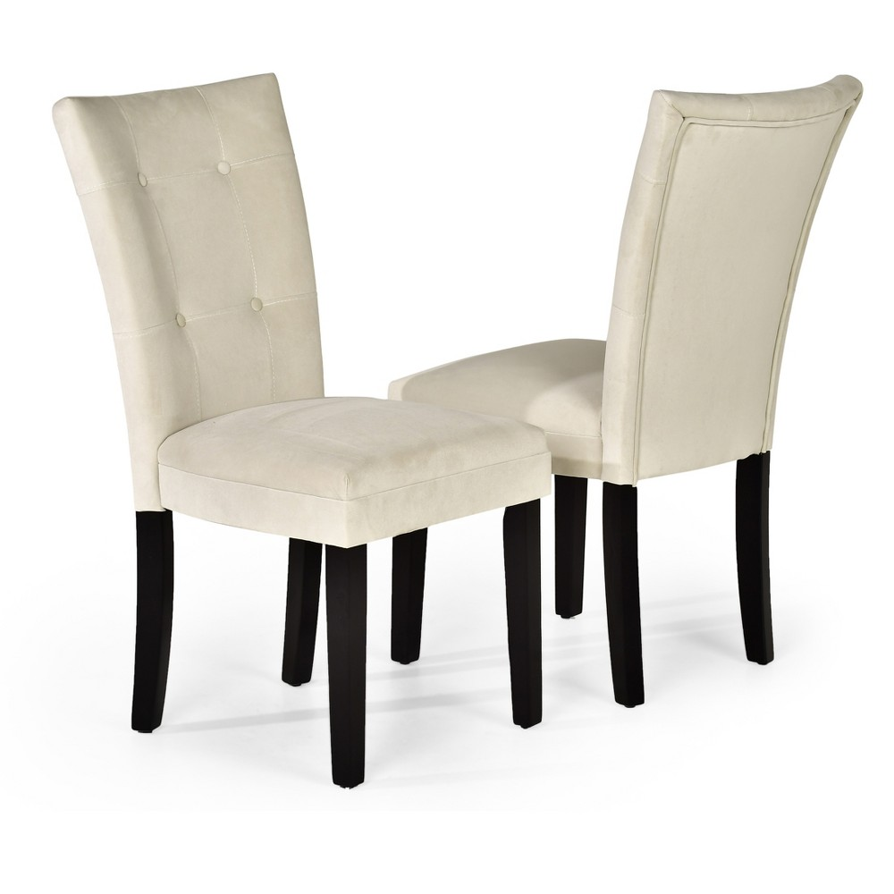 Margo Microfiber Parsons Chairs Wood/Beige (Set of 2) - Steve Silver Company