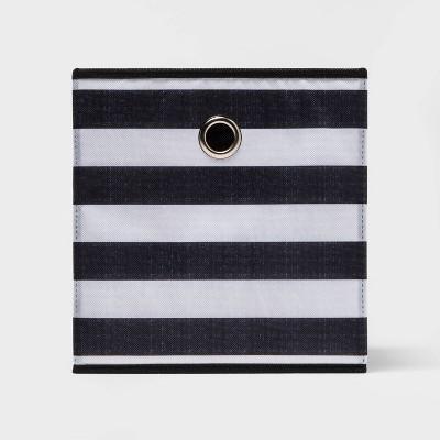 "11"" Fabric Cube Storage Bin Black & White Rugby Striped - Room Essentials™"