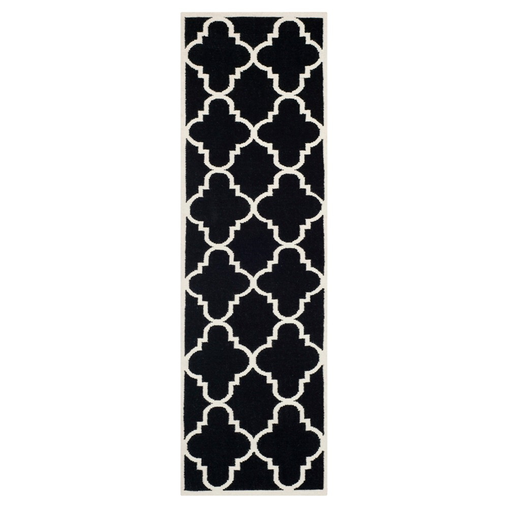 Cheap Mazagan Dhurry Rug - Black Ivory - (26x6) - Safavieh