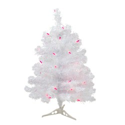 Northlight 2 Pre-lit White Iridescent Pine Artificial Christmas Tree - Pink Lights