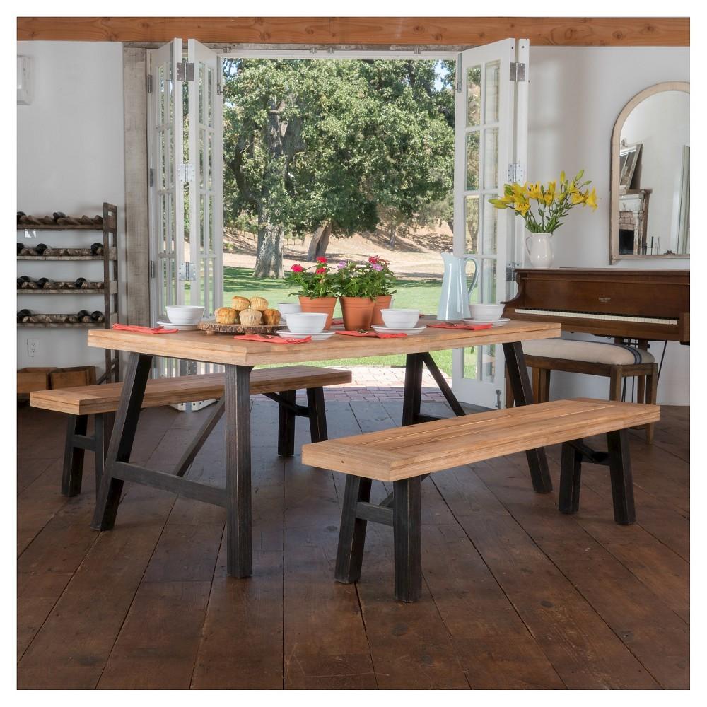 Boracay 3pc Laminated Acacia Picnic Set - Teak (Brown) Finish/Brushed Gray - Christopher Knight Home