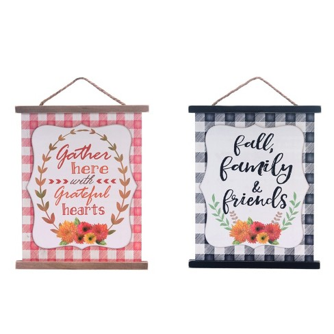 Transpac Wood 16 In Multicolor Fall Harvest Plaid Wall Decor Set Of 3 Target