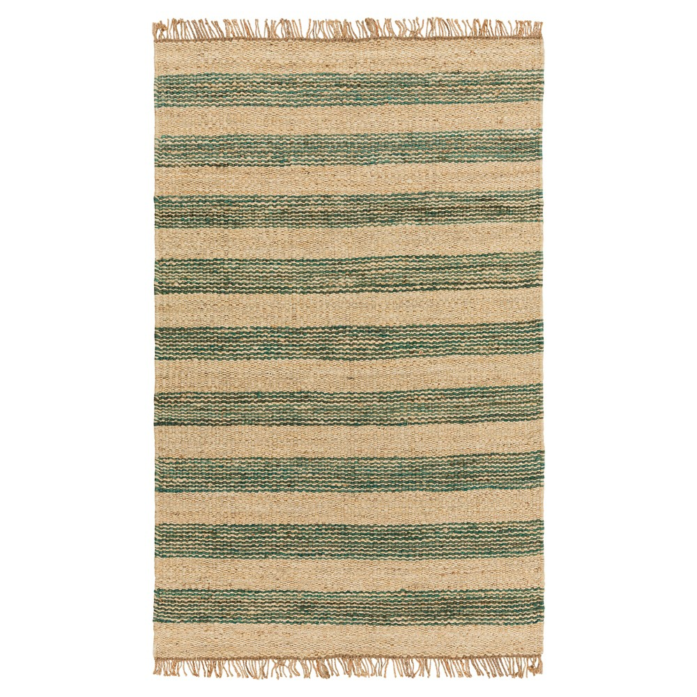 Teal (Blue) Stripes Woven Accent Rug - (4'X6') - Surya
