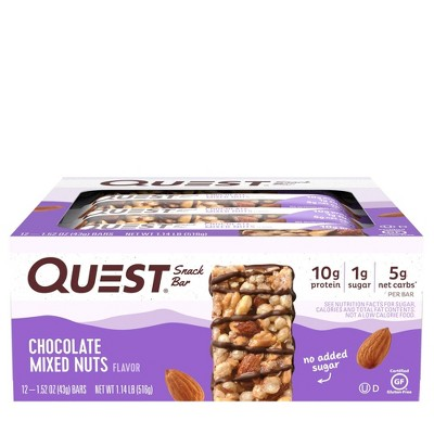 Quest Snack Bar Chocolate Mixed Nuts - 12ct
