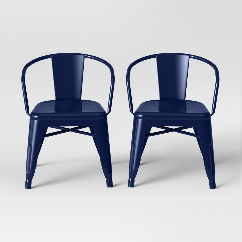 Image of Set of 2 Kids Industrial Activity Chair Navy - Pillowfort