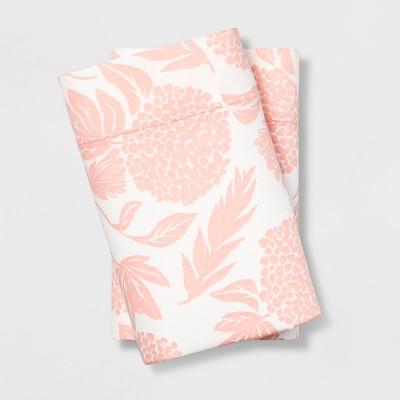 King 400 Thread Count Floral Print Cotton Performance Pillowcase Set White/Blush - Opalhouse™