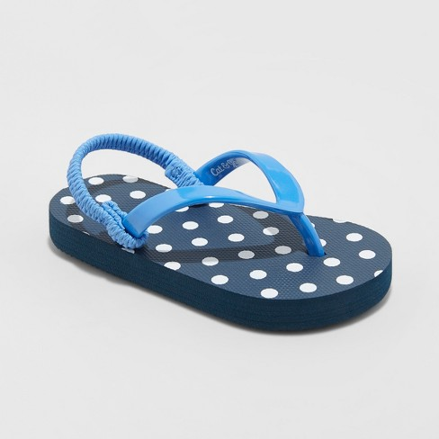Toddler Girls' Keira Polka Dot Flip Flop Sandals - Cat & Jack™ Blue - image 1 of 3