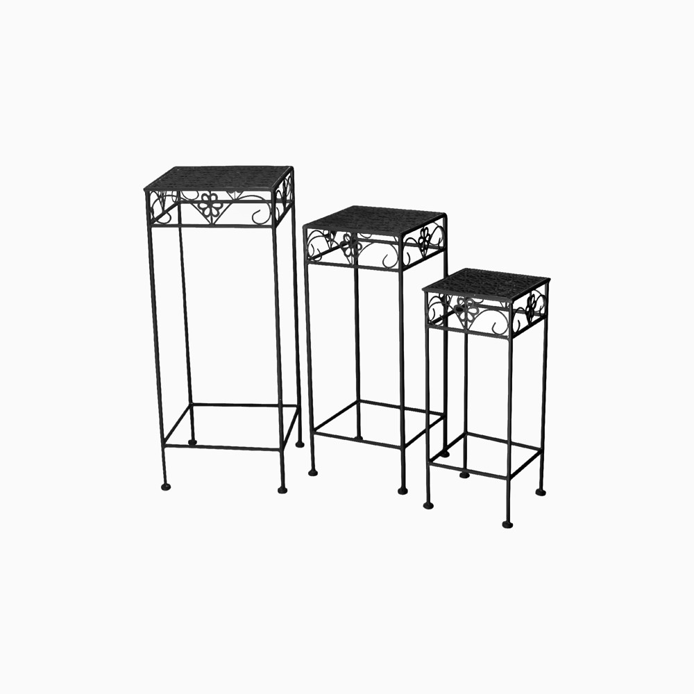 27 H Square Metal Planter Stands And Holders - Black - Creative Motion