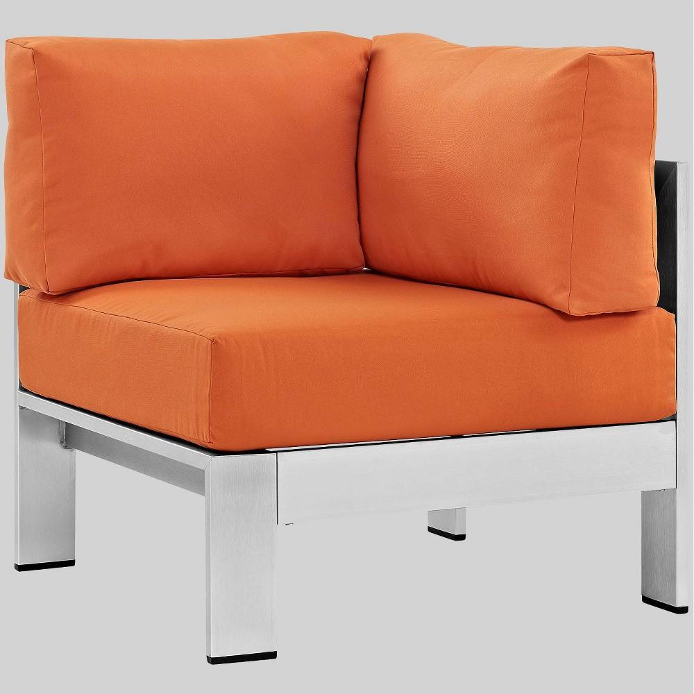 Shore Outdoor Patio Aluminum Corner Sofa - Orange - Modway