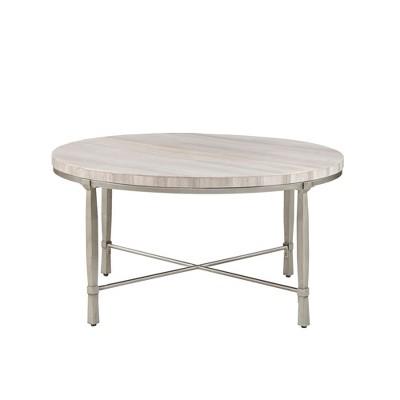 Gretna Round Coffee Table Silver Cream