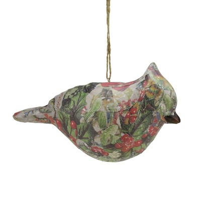 """Gallerie 6"""" Victorian Floral Decoupage Bird Looking Forward Christmas Ornament - Red/Green"""