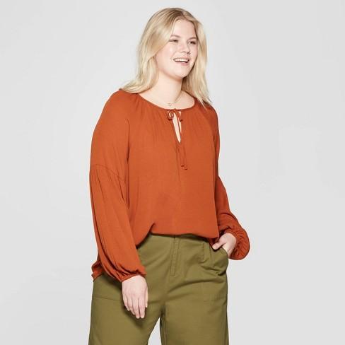 02d95c7d5c Women s Plus Size Long Sleeve V-Neck Poet Blouse - Ava   Viv™ Brown ...