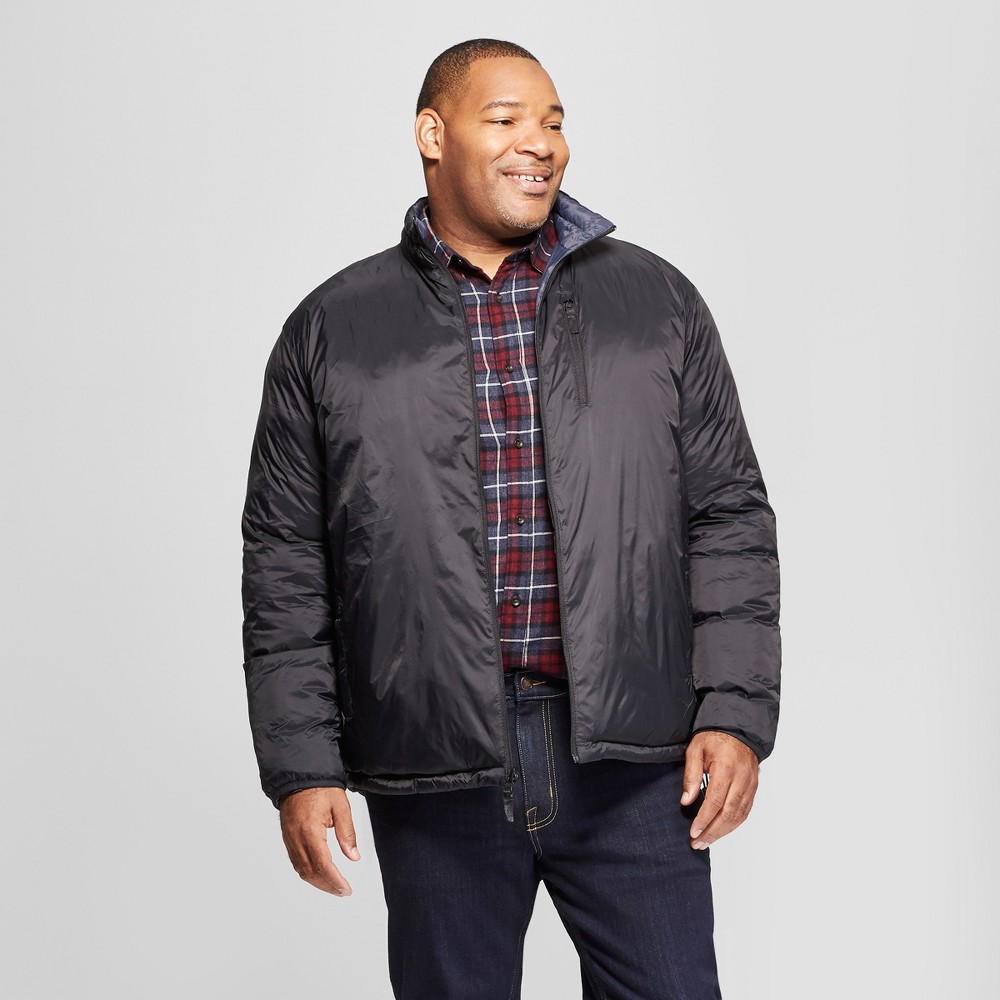 Men's Big & Tall Reversible Matte Unquilted Puffer Jacket - Goodfellow & Co Black 2XBT