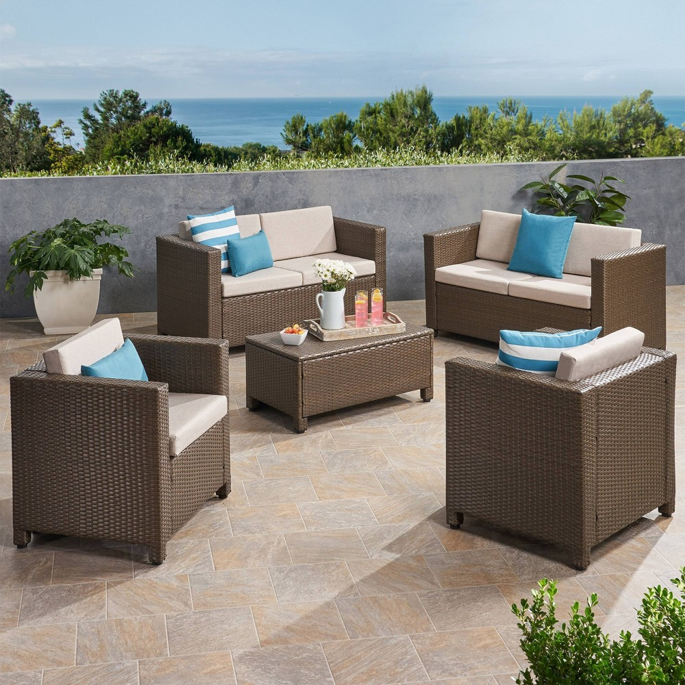Puerta 5pc Faux Rattan Loveseat Chat Set Brown Ceramic Gray Christopher Knight Home
