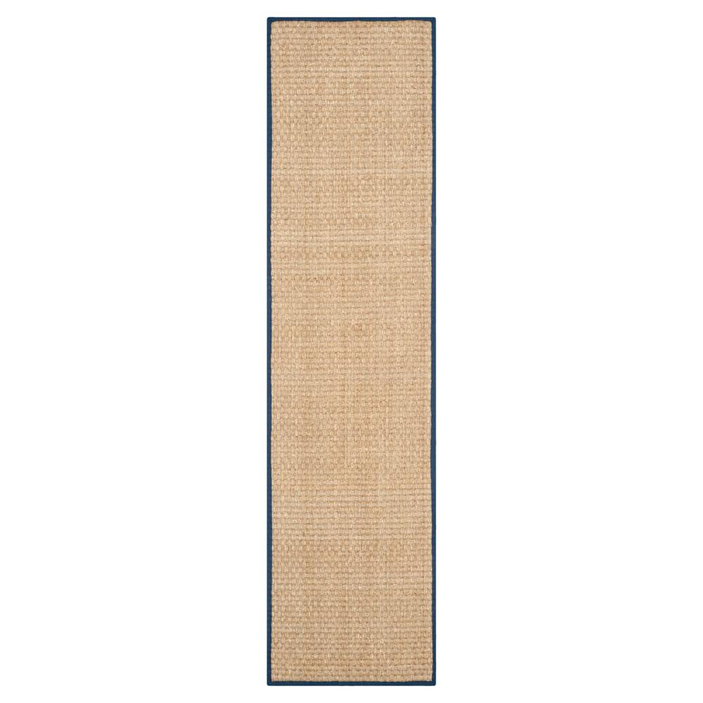 Natural Fiber Rug - Natural/Blue - (2'6x12') - Safavieh