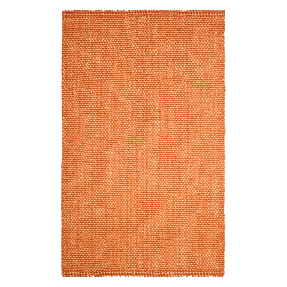 Solid Woven Area Rug Rust/Natural