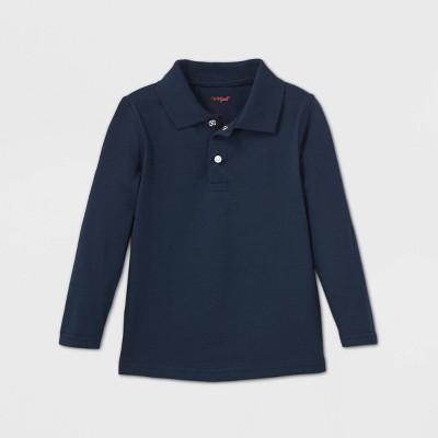 Toddler Boys' Adaptive Long Sleeve Polo Shirt - Cat & Jack™ Navy