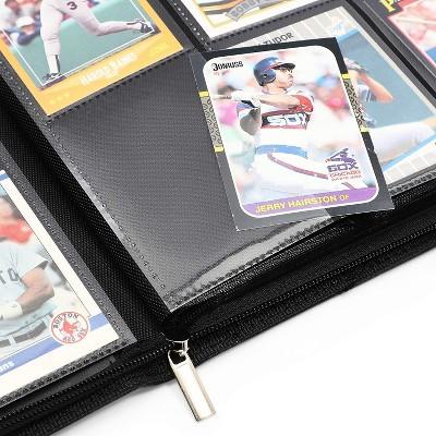 Card Binder with Zipper - 9 Pockets Trading Cards Album Folder - 360 Side Loading Pockets (Black)
