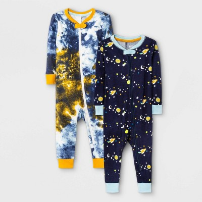 Baby Boys' 2pk Tie-Dye Space Snug Fit Pajama Romper - Cat & Jack™ Navy