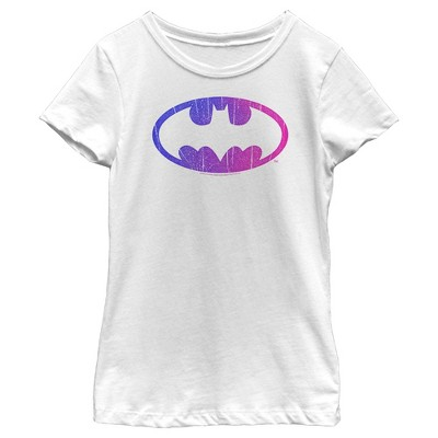 Girl's Batman Cracked Rainbow Logo T-Shirt