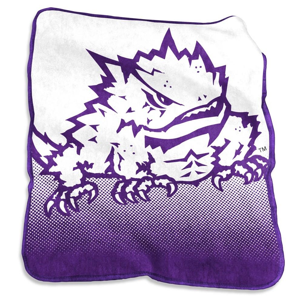 NCAA Tcu Horned Frogs Logo Brands Raschel Throw Blanket