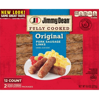 Jimmy Dean Original Fully Cooked Pork Sausage Links - 9.6oz/12ct