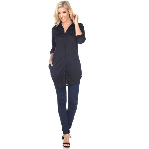 Women's Stretchy Button-Down Tunic with Pockets - White Mark - image 1 of 3